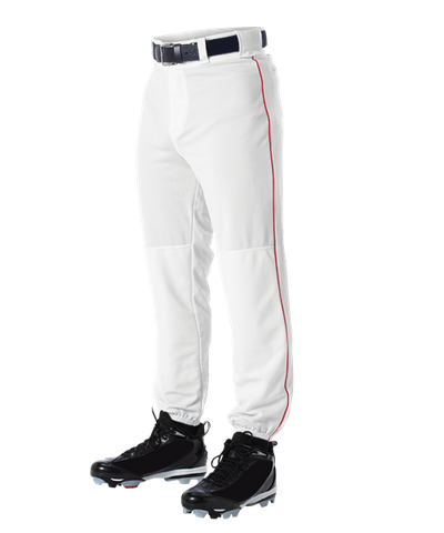 Alleson 605PLP 605PLPY White With Scarlet Braid Baseball Pants with Elastic Bottom