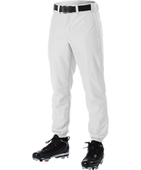 Alleson 605P 605PY White Baseball Pants with Elastic Bottom