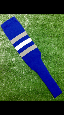"Baseball Stirrups 8"" Royal Blue with Three Stripes Gray White Gray"
