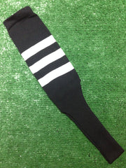 "Baseball Stirrups 8"" Black with Three White Stripes"