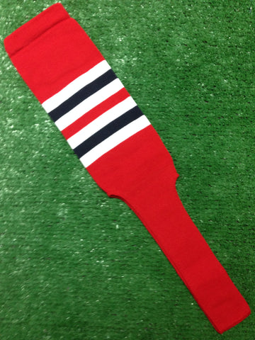 "Baseball Stirrups 6"" or 8"" Red with White and Navy Stripes"