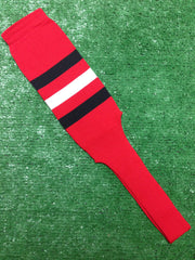 "Baseball Stirrups 8"" Red with Three Stripes Black White Black"