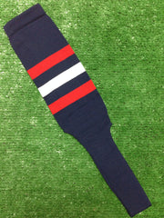 "Baseball Stirrups 8"" Navy with Three Stripes Red White Red"