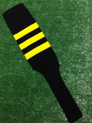 "Baseball Stirrups 8"" Black with Three Gold Stripes"
