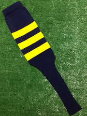 "Baseball Stirrups 8"" Navy with Three Gold Stripes"