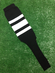 "Baseball Stirrups 6"" or  8"" Black with Thin Thick Thin White Stripes"