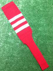 "Baseball Stirrups 6"" or 8"" Red with Three White Stripes"