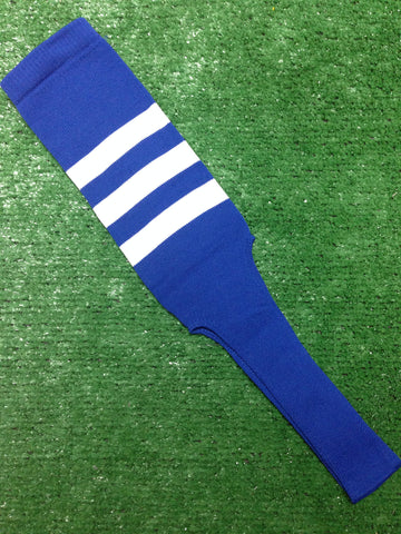 "Baseball Stirrups 6"" or 8"" Royal Blue with Three White Stripes"