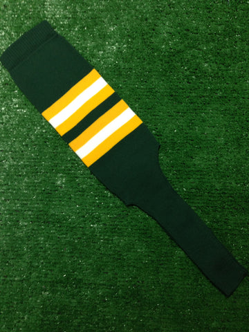 "Baseball Stirrups 8"" Dark Green with Gold and White Stripes"