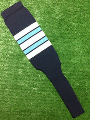 "Baseball Stirrups 8"" Navy Blue with White Columbia Blue and Navy Stripes"