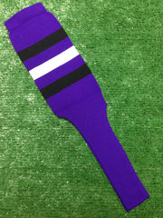 "Baseball Stirrups 8"" Purple with Three Stripes Black White Black"