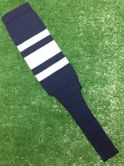 "Baseball Stirrups 4"" 6"" or 8"" Navy with Thin Thick Thin White Stripes"