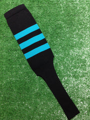 "Baseball Stirrups 8"" Black with Three Teal Stripes"