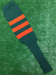"Baseball Stirrups 8"" Dark Green with Three Orange Stripes"