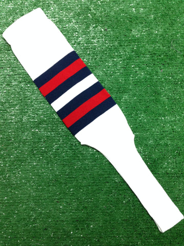 "Baseball Stirrups 8"" White with Navy and Red Stripes"
