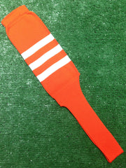 "Baseball Stirrups 8"" Orange with Three White Stripes"