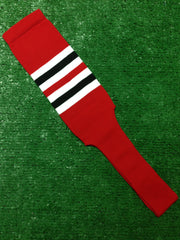 "Baseball Stirrups 4"" or 8"" Red with White and Black Stripes"