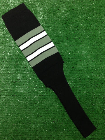 "Baseball Stirrups 8"" Black with Gray White and Black Stripes"