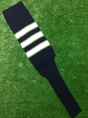 "Baseball Stirrups 4"" or  8"" Navy with White Stripes Trimmed with Gray"