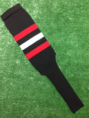 "Baseball Stirrups 8"" Black with Three Stripes Red White Red"