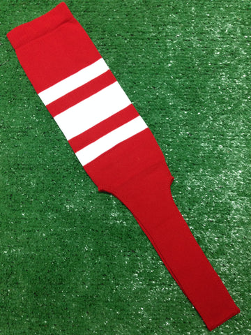 "Baseball Stirrups 4"", 6"" or 8"" Red with Thin Thick Thin White Stripes"