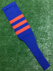 "Baseball Stirrups 8"" Royal with Three Orange Stripes"