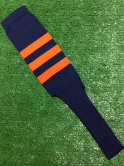 "Baseball Stirrups 8"" Navy with Three Orange Stripes"