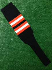 "Baseball Stirrups 8"" Black with Orange and White Stripes"