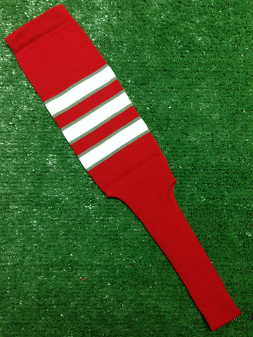 "Baseball Stirrups 8"" Red with White Stripes Trimmed with Gray"