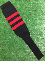 "Baseball Stirrups 8"" Black with Three Red Stripes"