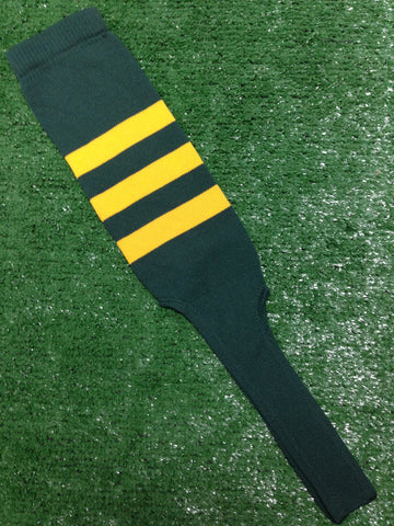 "Baseball Stirrups 8"" Dark Green with Three Gold Stripes"