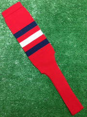 "Baseball Stirrups 8"" Red with Three Stripes Navy White Navy"