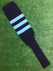 "Baseball Stirrups 8"" Navy with Three Columbia Blue Stripes"