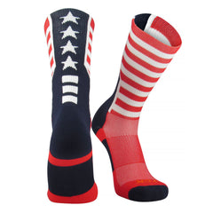 TCK USA Flag Scarlet Navy Blue White Crew Sock