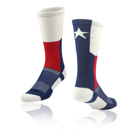 TCK Texas Flag Scarlet (Red) Navy White Crew Sock