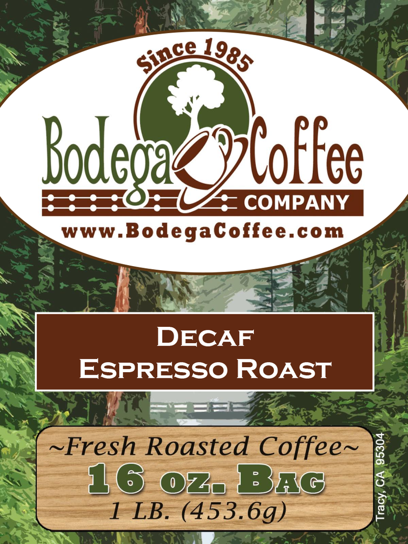 Decaf Bodega Espresso Roast label