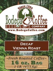 Decaf Vienna Roast label