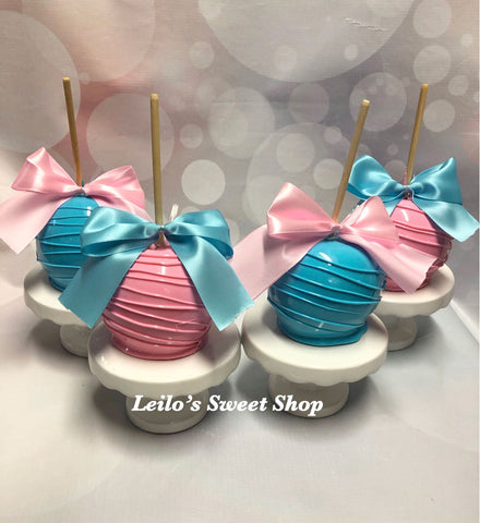 baby shower reveal candy apples