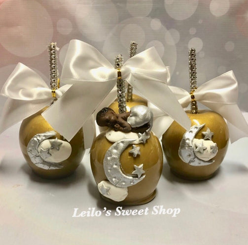 black baby shower candy apples