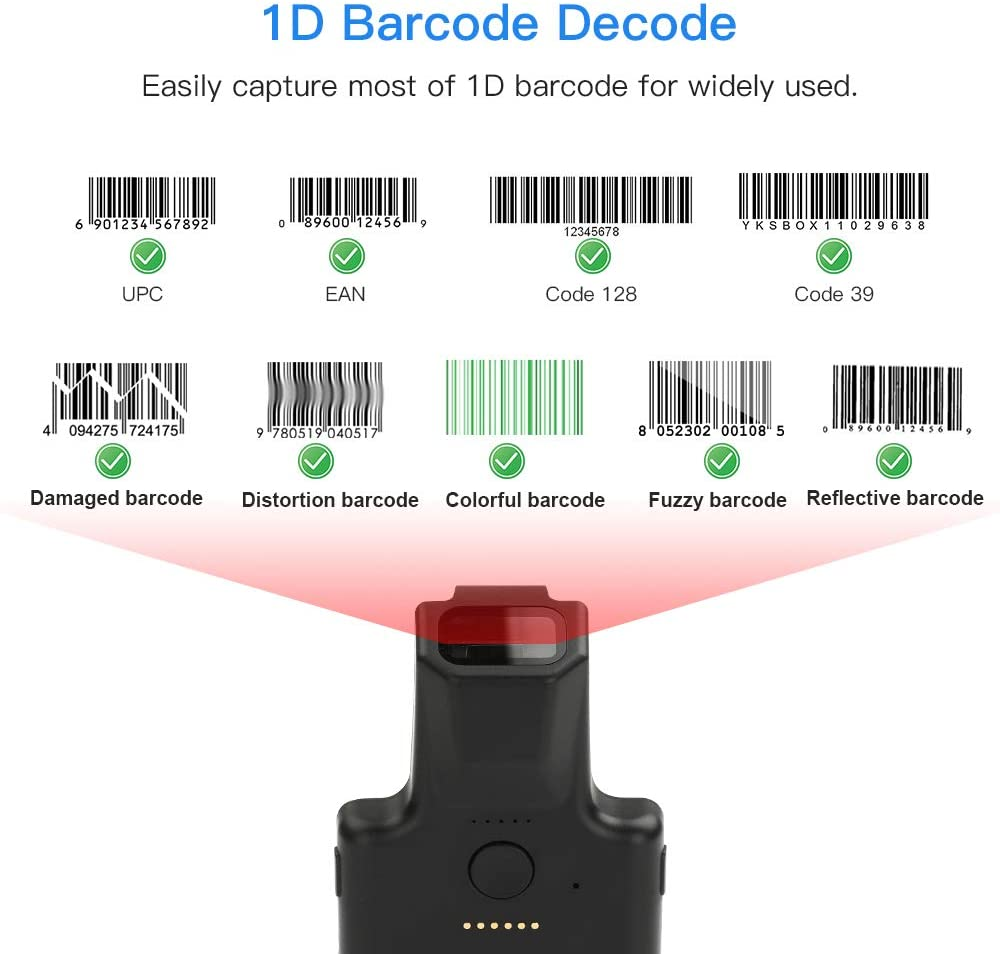 Eyoyo EY-017L 1D Wireless Bluetooth Barcode Scanner with Portable Back Clip