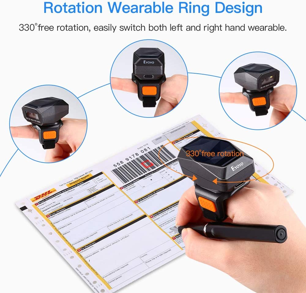 EYOYO EY-016 2D Ring bluetooth barcode scanner QR code reader.2