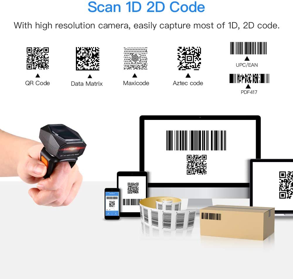 Eyoyo EY-016 2D Finger Ring Barcode Reader, Mini Wearable Finfer Bluetooth Scanner
