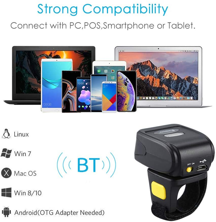 Ring Barcode Scanner 1D 2D QR Wearable Wireless Finger for Windows, Mac OS, Android 4.0+, iOS