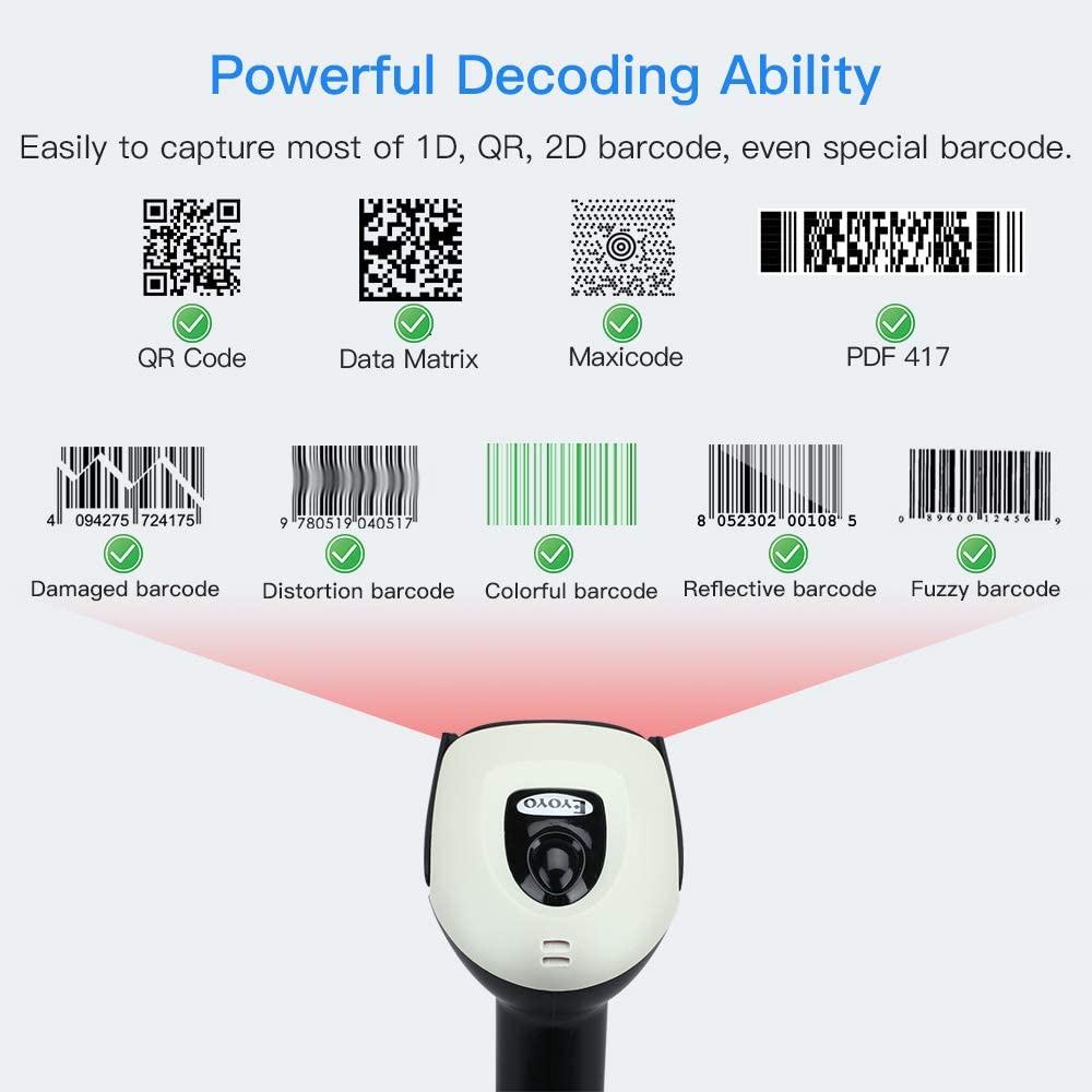 EYOYO EY-016 2D Ring bluetooth barcode scanner high decoding.4