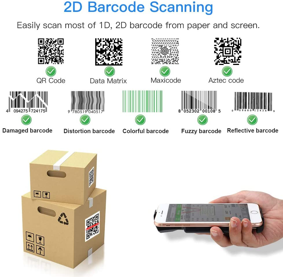 Eyoyo EY-017 2D Wireless Bluetooth Barcode Scanner with Portable Back Clip
