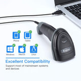 Eyoyo EY-018 1D Bluetooth Barcode Scanner Support Time & Date Prefix Suffix