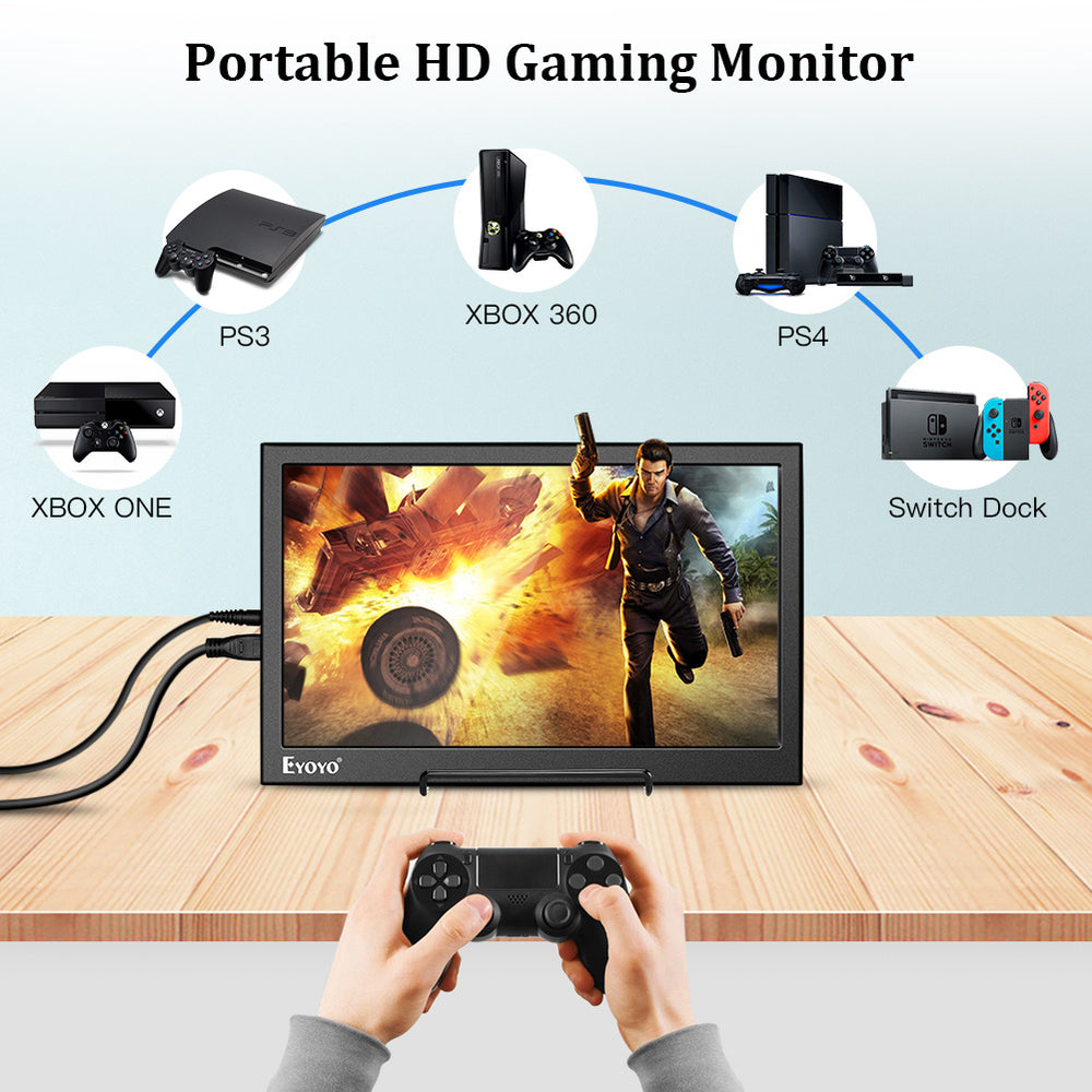 "Eyoyo Portable Monitor 13.3"" Gaming Monitor 1080P Dual HDMI Inputs Second Monitor for Laptop PC"