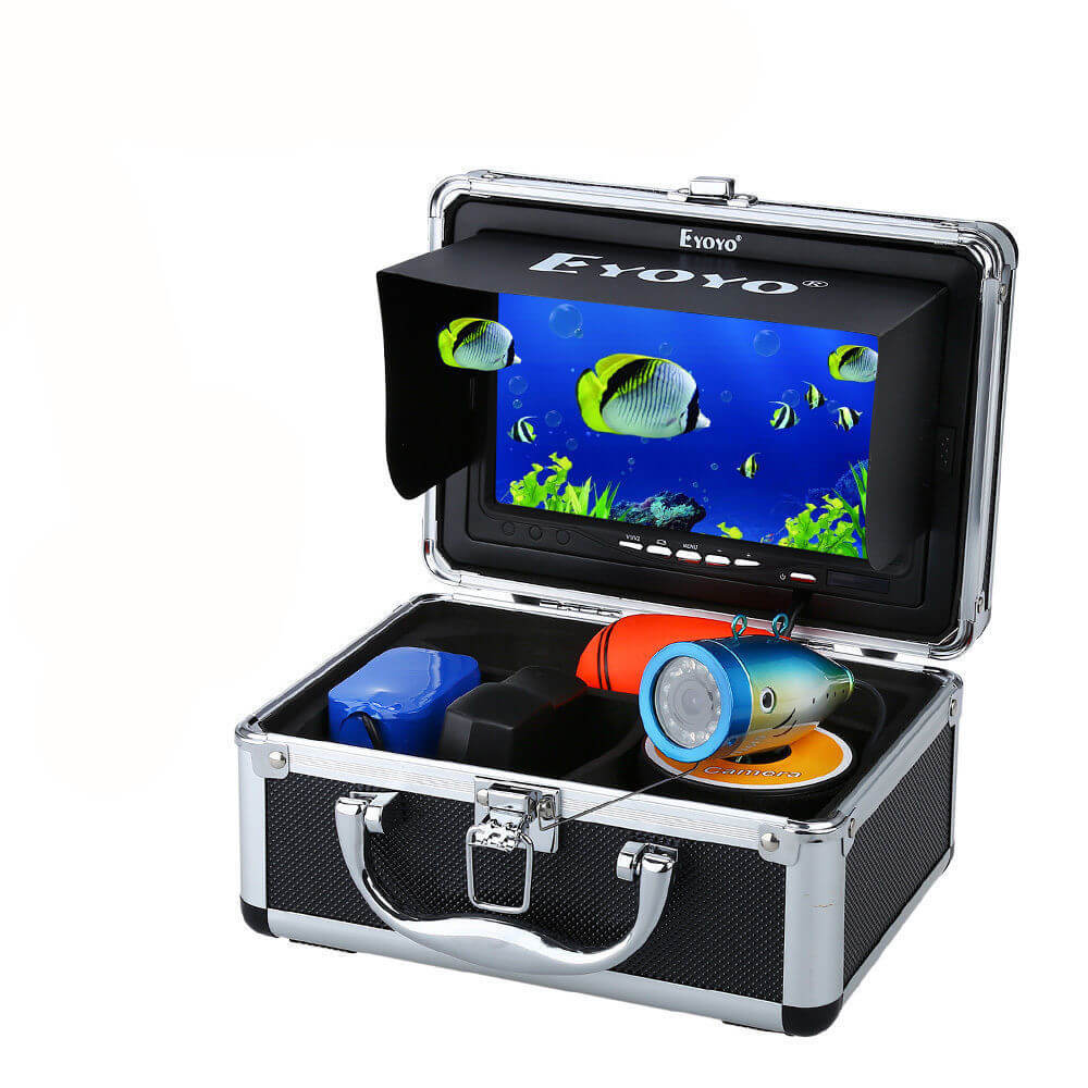"Eyoyo 7"" Waterproof Underwater Camera 15M & 12pcs IR Lights for Ice,Lake,Boat Fishing"