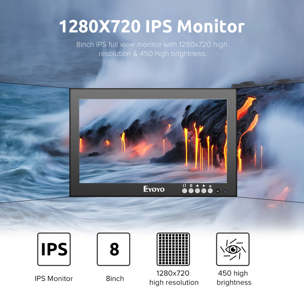"Eyoyo 8"" Monitor HDMI LCD Monitor 1280x720 16:9 IPS Screen"