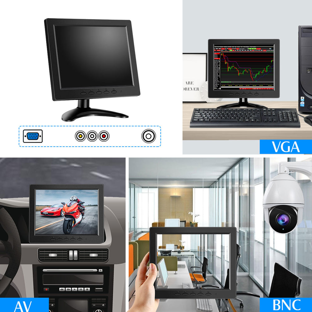 Eyoyo 8 inch Small LCD Monitor 800x600 Security CCTV Monitor Small VGA Display w/VGA/AV/BNC Input